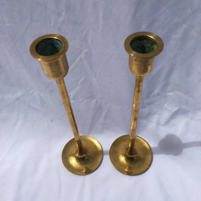 Midcentury Modern Tall Brass Candlesticks - Image 3 of 7