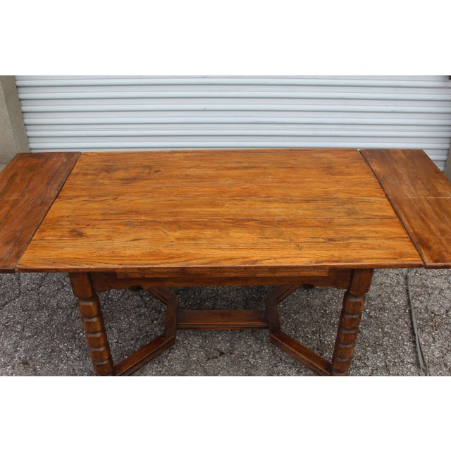 Mid-Century Rustic Solid Wood Table & 4 Chairs - Dining Set - Image 2 of 6