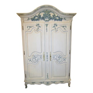 Blue & White Carved Wood Armoire