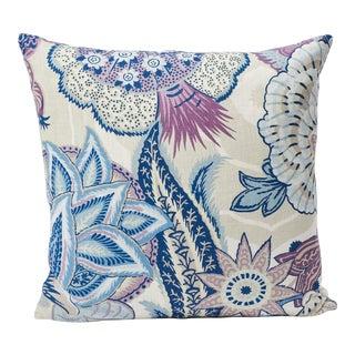 Schumacher Double-Sided Pillow in Zanzibar Linen Print For Sale