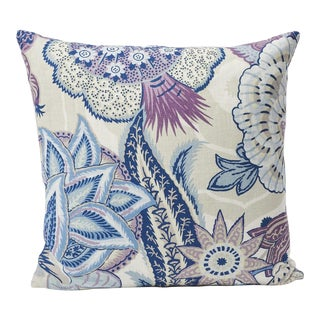 Schumacher Zanzibar Linen Print Double-Sided Pillow in Hyacinth For Sale