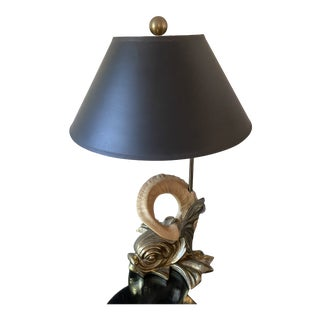 1980s Chapman Brass Dolphin Fish Table Lamp For Sale
