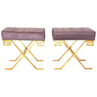 20th Century Gold Iron Stools After Jean Michel Frank - a Pair For Sale