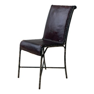 Antique Green Wrought Iron Accent Chair With Studded Coated-Canvas Seat, Circa Early 20th Century For Sale