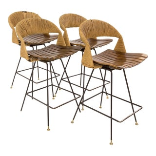 Vintage Mid Century Arthur Umanoff Tiki Iron Bar Stools- Set of 4 For Sale