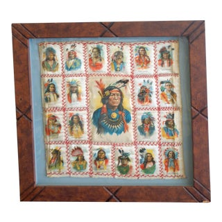 Framed Collection of Native American Tobacco Silks C. 1900 For Sale