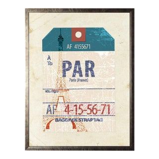Paris Travel Ticket in Pewter Shadowbox - 13.5ʺ × 17.5ʺ For Sale