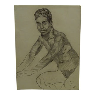 """1955 Mid-Century Modern Original Drawing on Paper, """"Young Black Dandy"""" by Tom Sturges Jr. For Sale"""