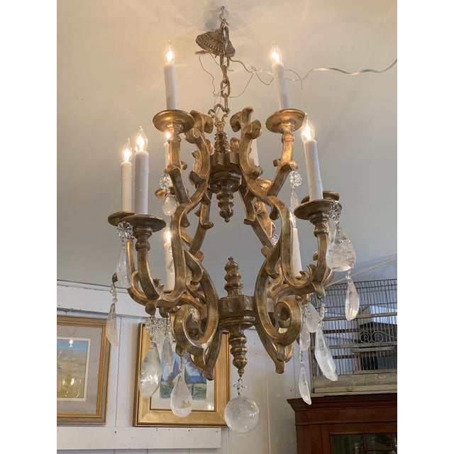 Giltwood Chandelier With Very Large Rock Crystals For Sale - Image 11 of 13