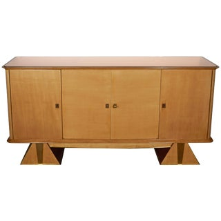 Early 20th Century French Modernist Art Deco Sycamore Credenza For Sale