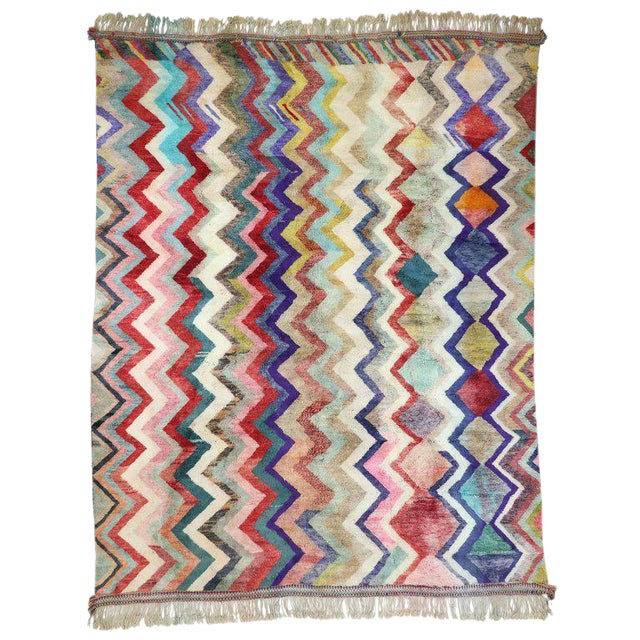 Contemporary Missoni Style Moroccan Berber Rug - 10′6″ × 13′4″ For Sale