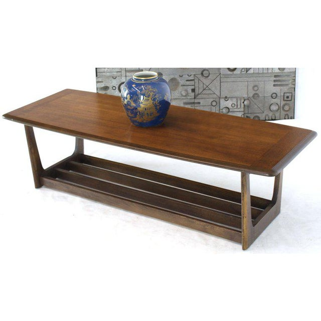 1970s Lane Rounded Rectangle Shape Two-Tier Walnut Coffee Table For Sale - Image 5 of 11