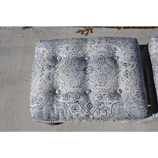 Blue Mid-Century Milo Baughman Style Peter Dunham Deeg Linen Parson's Stools- a Pair For Sale - Image 8 of 12