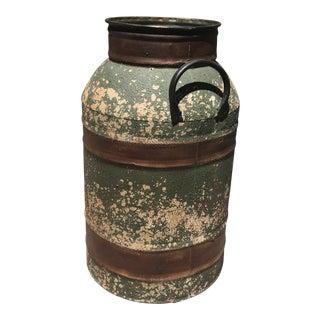 Large Green Metal Barrel For Sale