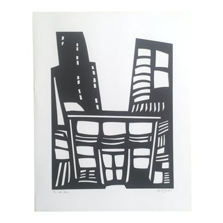 """Eliot Daughtry Razor Cut Paper on Paper Architectural Collage """"the Hall"""", 2005 For Sale"""