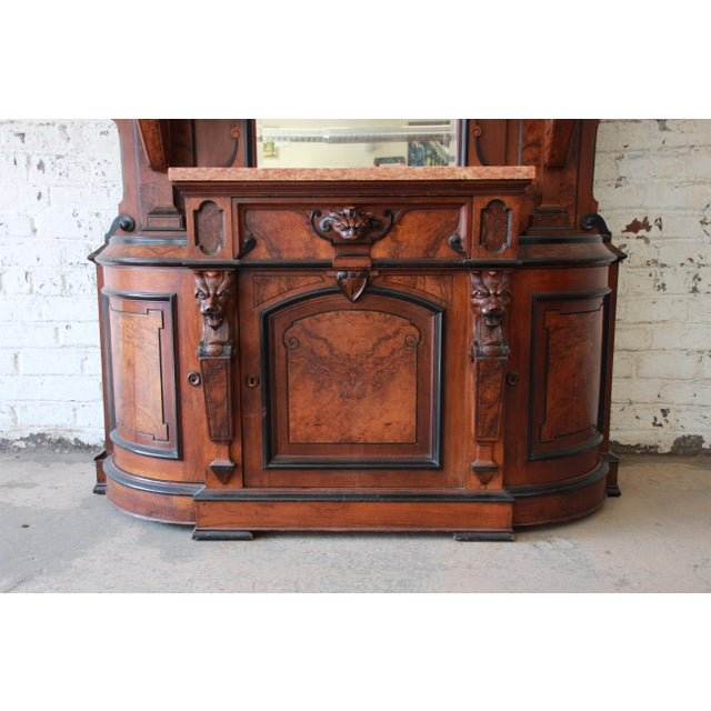 Mid 19th Century Monumental 19th Century Victorian Ornate Carved Burled Walnut Sideboard For Sale - Image 5 of 13