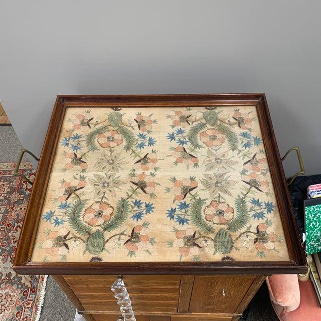 Art Deco Vintage Glass Framed Textile Tray For Sale - Image 3 of 13