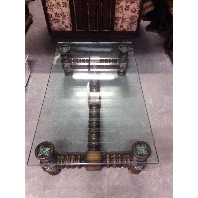Vintage Dark Wood Spindle Leg Glass Coffee Table