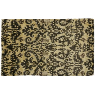 "Modern Espresso Ikat Rug - 3' x 4'10"" For Sale"