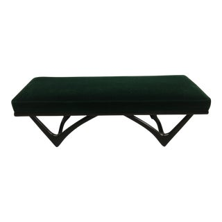 Late 20th Century Vintage Emerald Mohair Bench For Sale