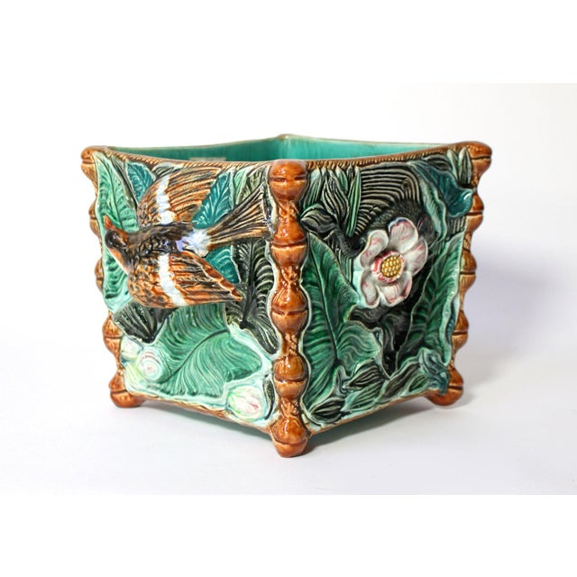 Large Palissy Majolica Square Jardinière, Paris School, 1800s For Sale In Los Angeles - Image 6 of 6