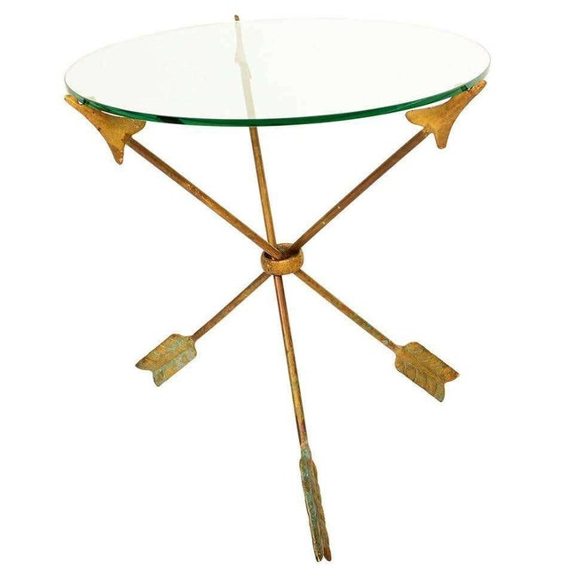 Gold 1940s Arturo Pani Bronze Arrows Glass Top Side Tripod Table For Sale - Image 8 of 8