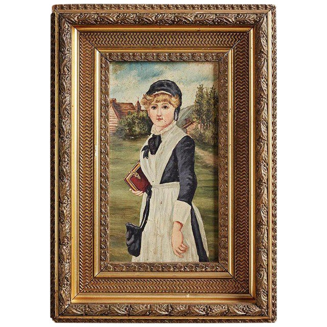 19th Century Folk Art Painting of a Young Girl For Sale