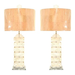 Restored Pair of Vintage Limestone and Lucite Lamps with Blown Glass Finials For Sale