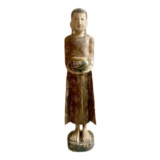 Burmese Carved Wood Buddha Monk Statue
