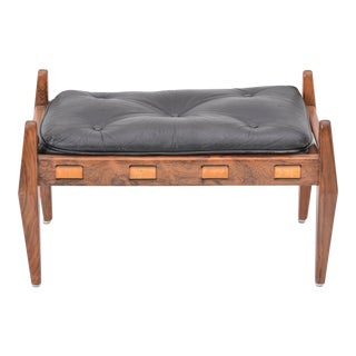 Black Vintage Leather Ottoman/ Foot Stool, Attributed to Sergio Rodrigues For Sale