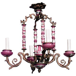 19th-20th Century French Louis XV Style Sevres Porcelain Four-Arm Chandelier Preview