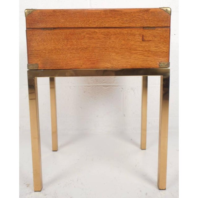 Mid-Century Modern Single Drawer Campaign Style Stand For Sale In New York - Image 6 of 11