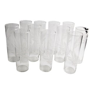 Vintage 1950's Mid-Century Libbey Feather Motif Highball Glasses - Set of 11 For Sale