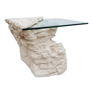 Sirmos Style Faux Rock Plaster Side Table