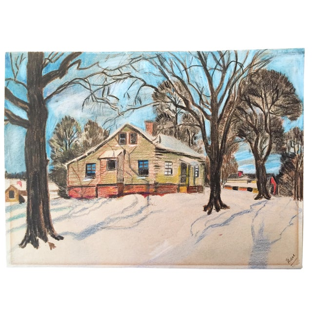 Vintage Colored Pencil Drawing Of A Cabin In The Snow Signed Lower Right Line