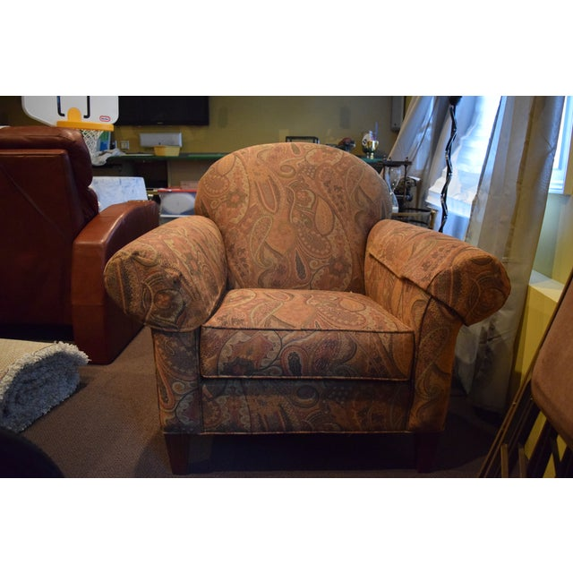 2010s Ethan Allen Roll-Arm Chair For Sale - Image 5 of 5