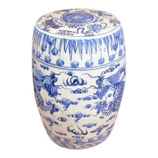 Chinoiserie Porcelain Blue and White Dancing Dragon Garden Stool For Sale