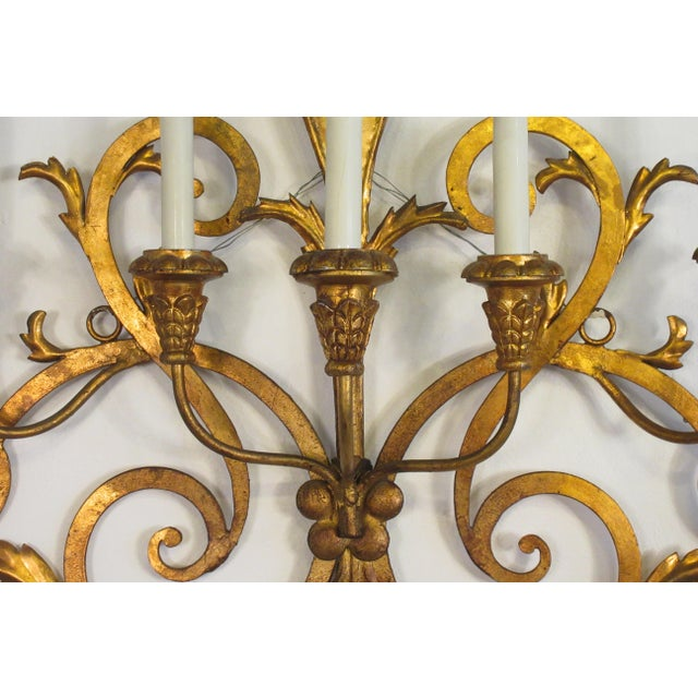 1950s 1950s Large Gilt Iron Italian Sconce For Sale - Image 5 of 11
