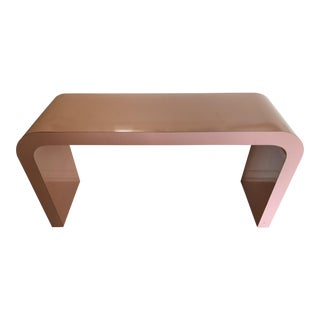 Mid-Century Modern Lacquered Pink Waterfall Console Table