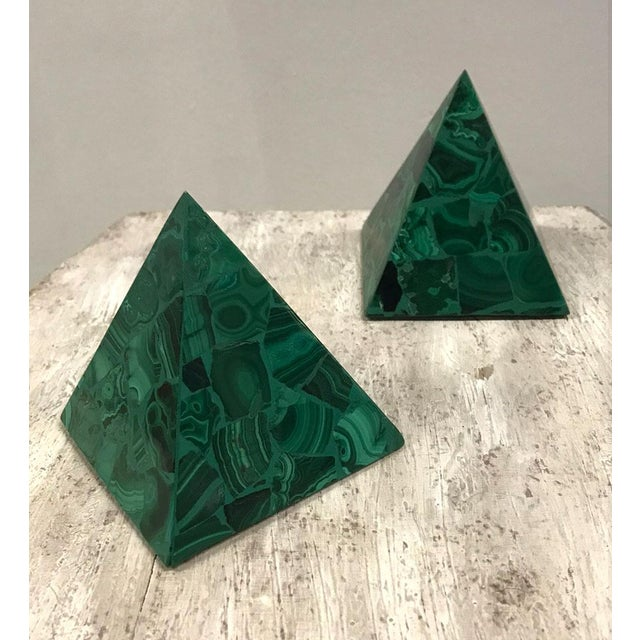 1970s Malachite Pyramidal Sculptures — a Pair For Sale - Image 5 of 8