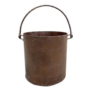 Vintage Iron Bucket with a Curved Handle For Sale