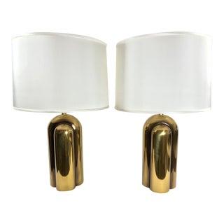 Vintage 1978 Westwood Brass Art Deco Lamps - a Pair