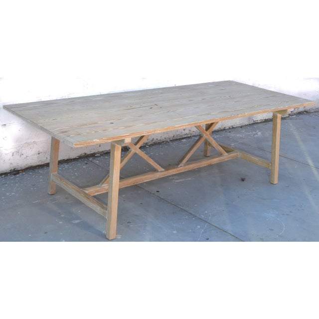 Rustic Farm or Harvest Table in Vintage Pine, Custom Made by Petersen Antiques For Sale - Image 3 of 11