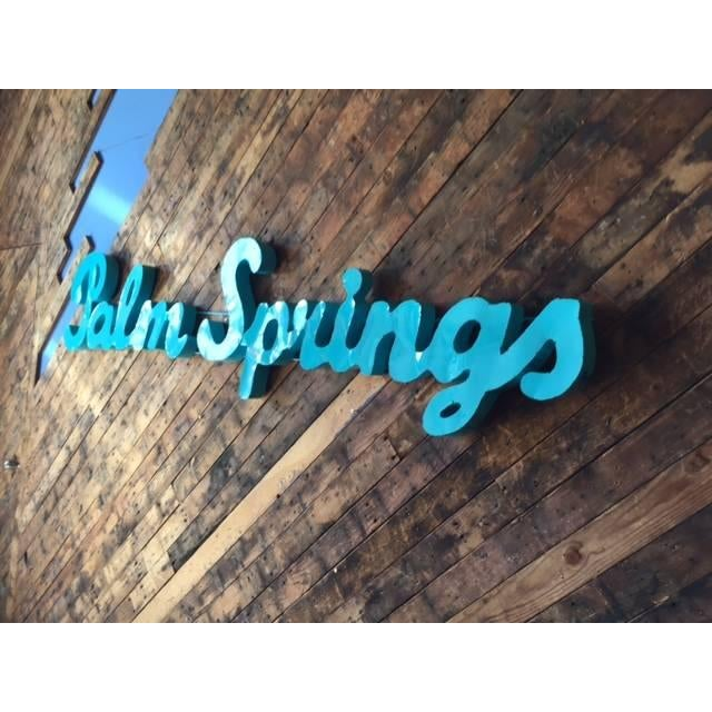 Industrial Industrial Blue Palm Springs Metal Sign For Sale - Image 3 of 4