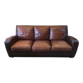 Crate and Barrel Contemporary Leather Sofa For Sale