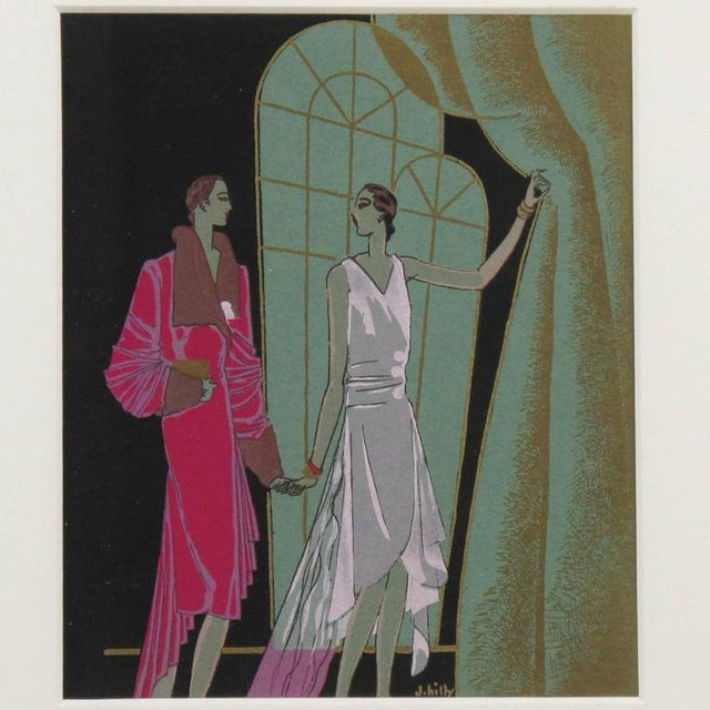 J. Hilly 1920s Original French Art Deco Ink and Gouache Illustration Drawing - Image 3 of 7