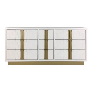 White & Gold Cubist Style Dresser For Sale