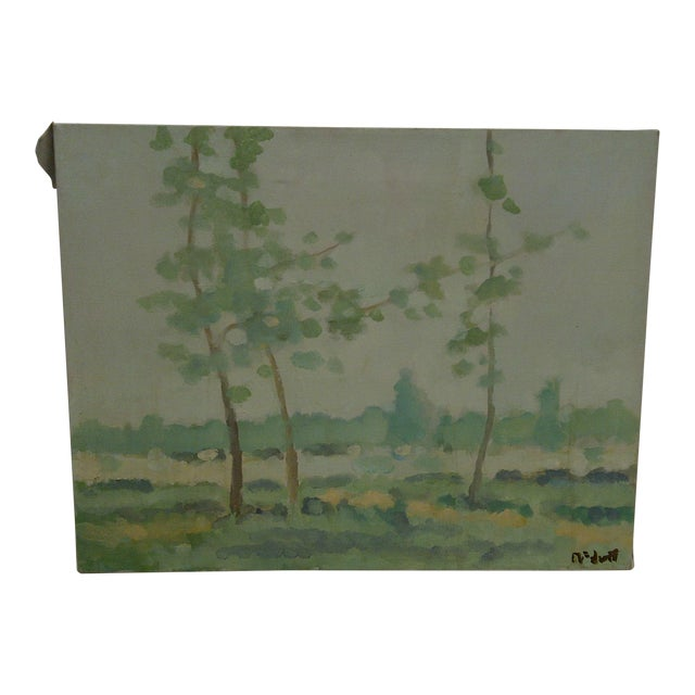 "20th Century Contemporary Original Framed Painting on Canvas, ""Trees"" by Frederick McDuff For Sale"
