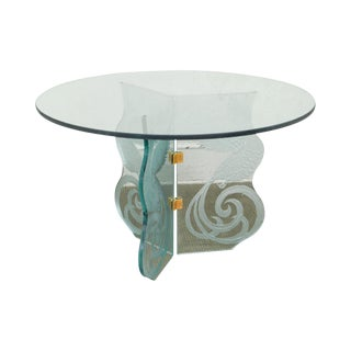 Contemporary Phoenix Etched Round Glass Dining Table Possibly Pace For Sale