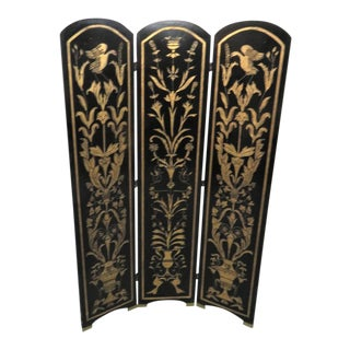 Italian 3-Panel Black & Gold Gilt Screen For Sale